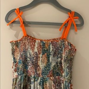 Zara Girls Paisley Print Smocked Maxi Dress